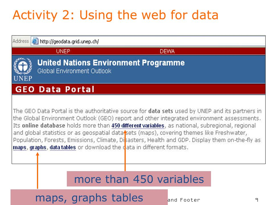 To put your footer here go to View > Header and Footer 9 Activity 2: Using the web for data more than 450 variables maps, graphs tables