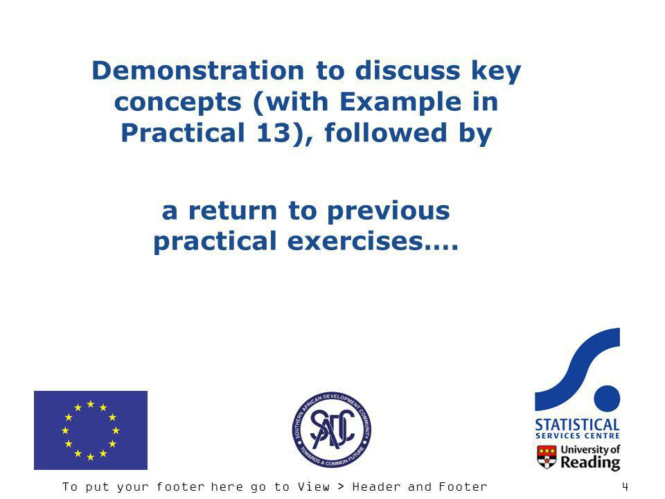 To put your footer here go to View > Header and Footer 4 Demonstration to discuss key concepts (with Example in Practical 13), followed by a return to