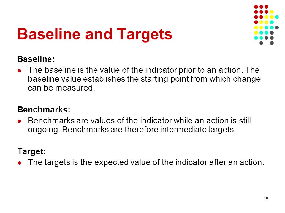10 Baseline and Targets Baseline: The baseline is the value of the indicator prior to an action.