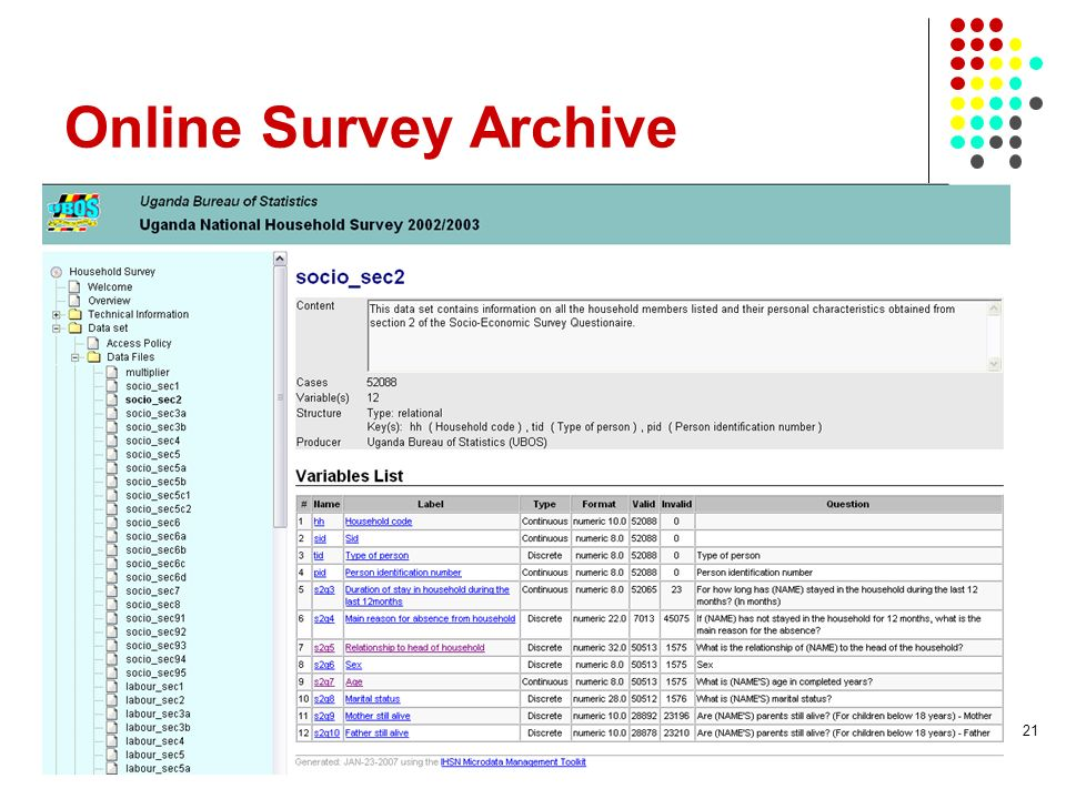 Online Survey Archive 21