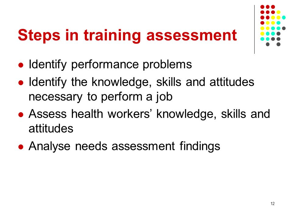 12 Steps in training assessment Identify performance problems Identify the knowledge, skills and attitudes necessary to perform a job Assess health workers knowledge, skills and attitudes Analyse needs assessment findings