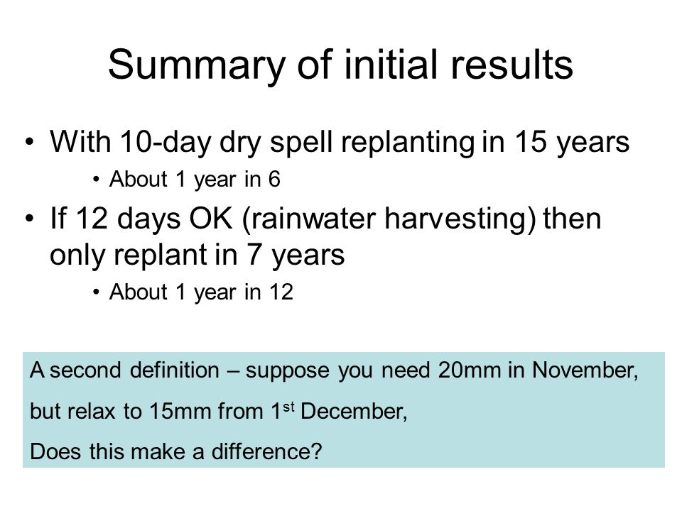 Summary of initial results With 10-day dry spell replanting in 15 years About 1 year in 6 If 12 days OK (rainwater harvesting) then only replant in 7 years About 1 year in 12 A second definition – suppose you need 20mm in November, but relax to 15mm from 1 st December, Does this make a difference
