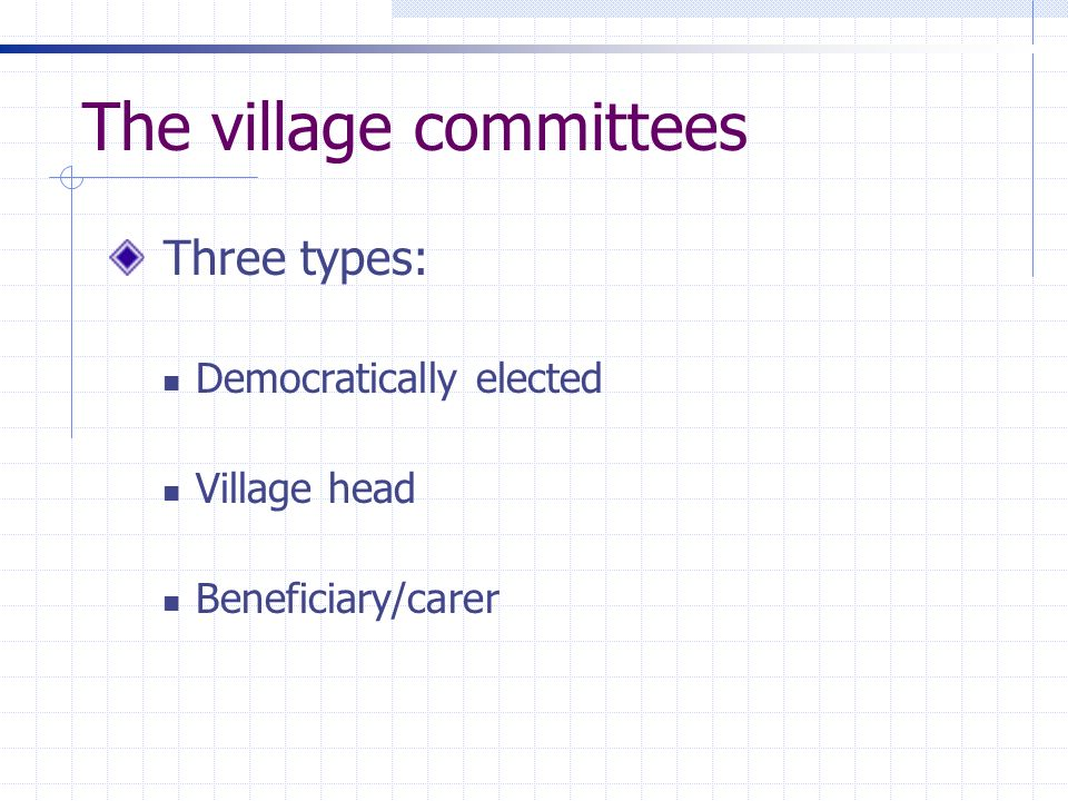 The village committees Three types: Democratically elected Village head Beneficiary/carer