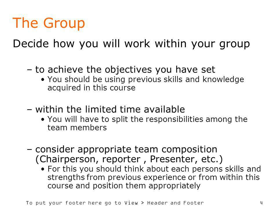 To put your footer here go to View > Header and Footer 4 The Group Decide how you will work within your group –to achieve the objectives you have set