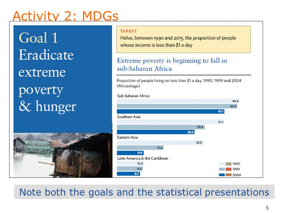 5 Activity 2: MDGs Note both the goals and the statistical presentations