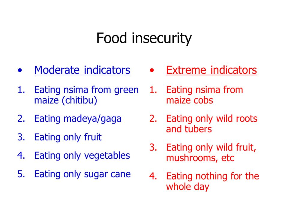 Food insecurity Moderate indicators 1.Eating nsima from green maize (chitibu) 2.Eating madeya/gaga 3.Eating only fruit 4.Eating only vegetables 5.Eating only sugar cane Extreme indicators 1.Eating nsima from maize cobs 2.Eating only wild roots and tubers 3.Eating only wild fruit, mushrooms, etc 4.Eating nothing for the whole day