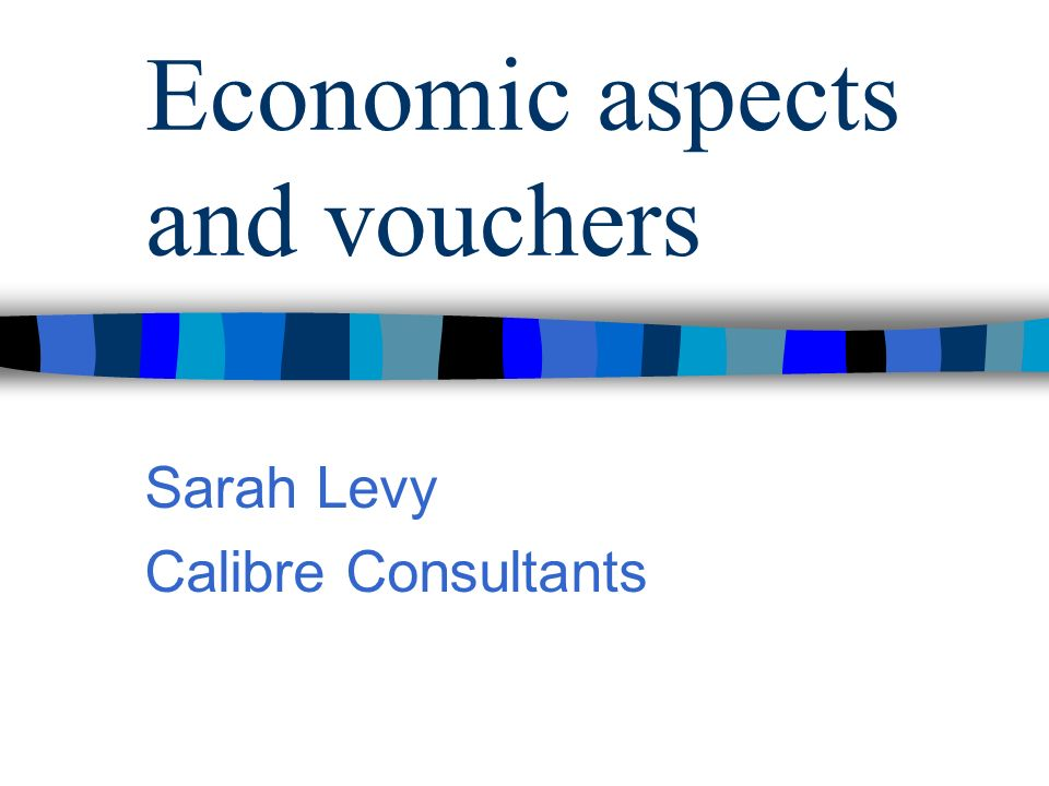 Economic aspects and vouchers Sarah Levy Calibre Consultants