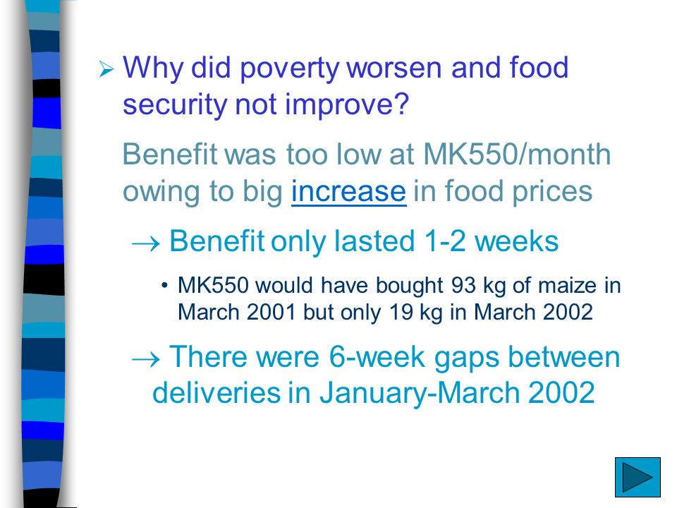 Why did poverty worsen and food security not improve.