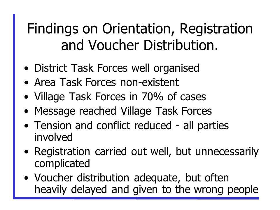 Findings on Orientation, Registration and Voucher Distribution.