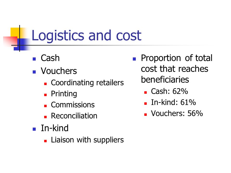 Logistics and cost Cash Vouchers Coordinating retailers Printing Commissions Reconciliation In-kind Liaison with suppliers Proportion of total cost that reaches beneficiaries Cash: 62% In-kind: 61% Vouchers: 56%