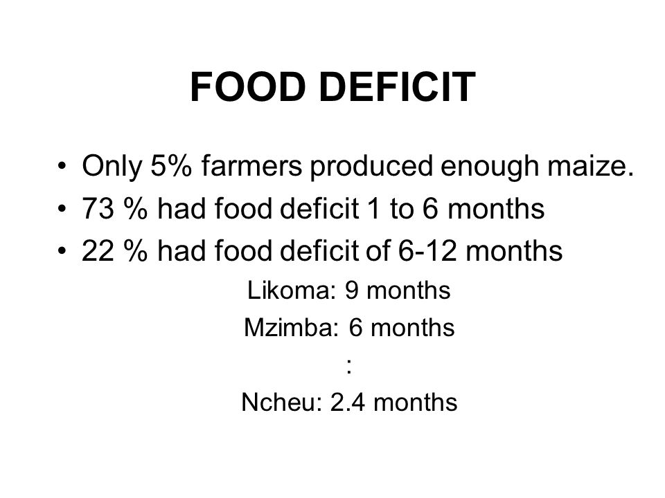 FOOD DEFICIT Only 5% farmers produced enough maize.