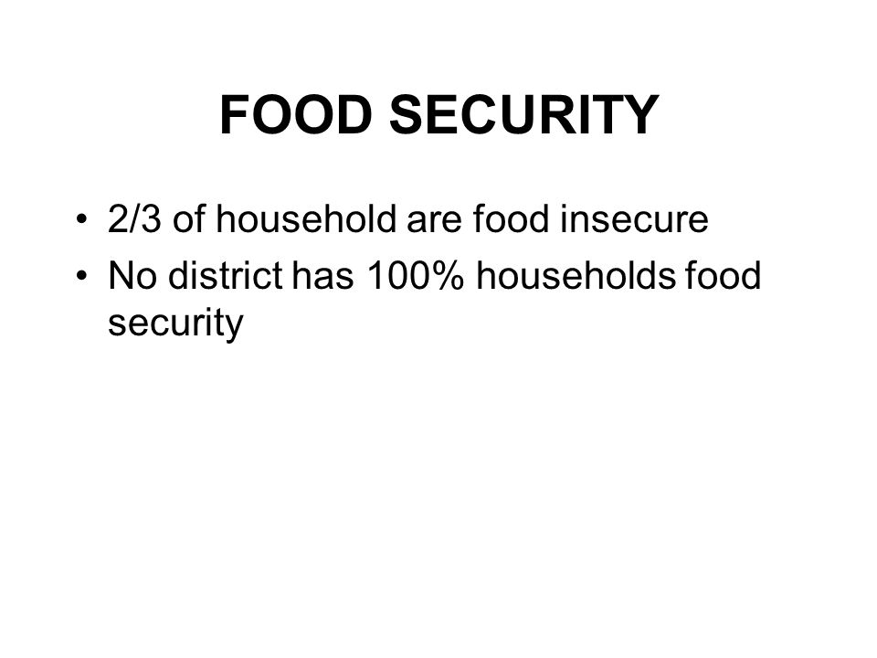 FOOD SECURITY 2/3 of household are food insecure No district has 100% households food security