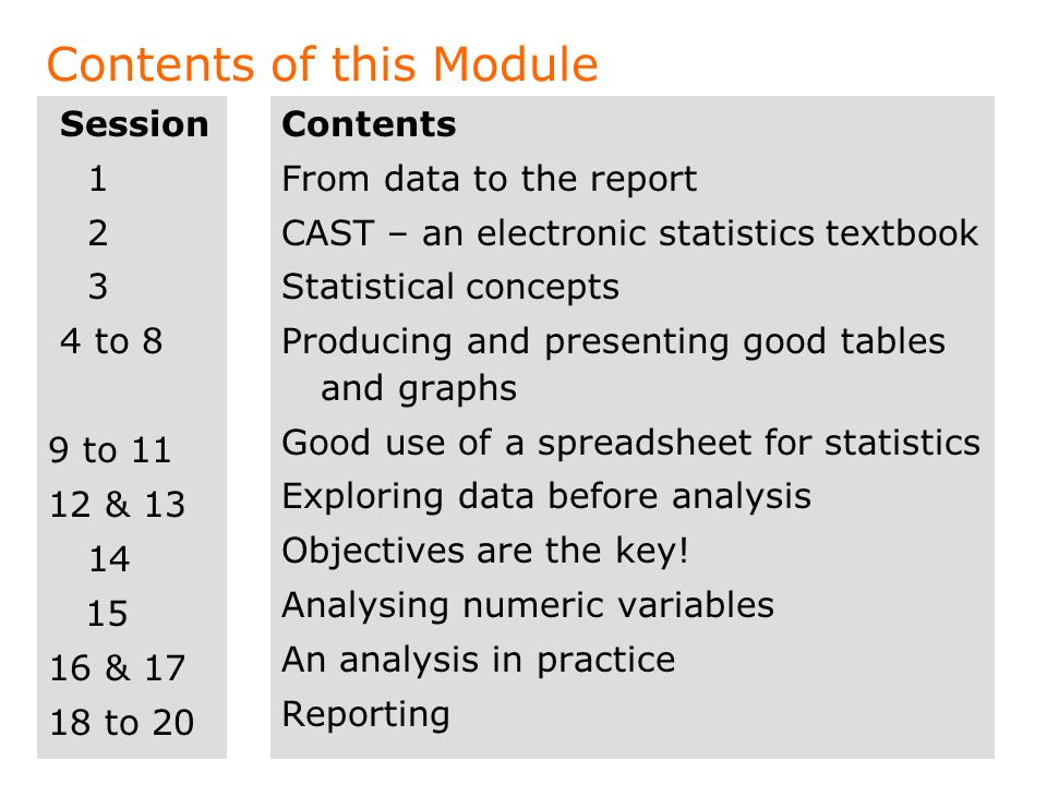 Contents of this Module Session 1 2 3 4 to 8 9 to 11 12 & 13 14 15 16 & 17 18 to 20 Contents From data to the report CAST – an electronic statistics t