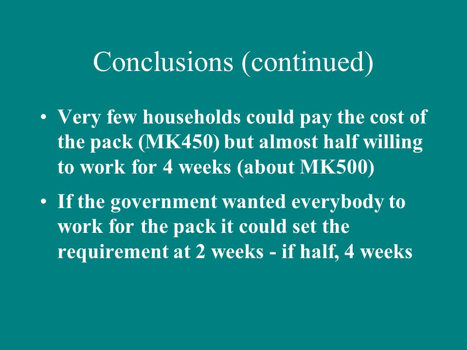 Conclusions (continued) Very few households could pay the cost of the pack (MK450) but almost half willing to work for 4 weeks (about MK500) If the go
