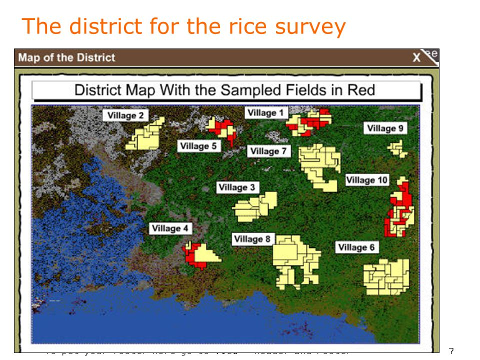 To put your footer here go to View > Header and Footer 7 The district for the rice survey
