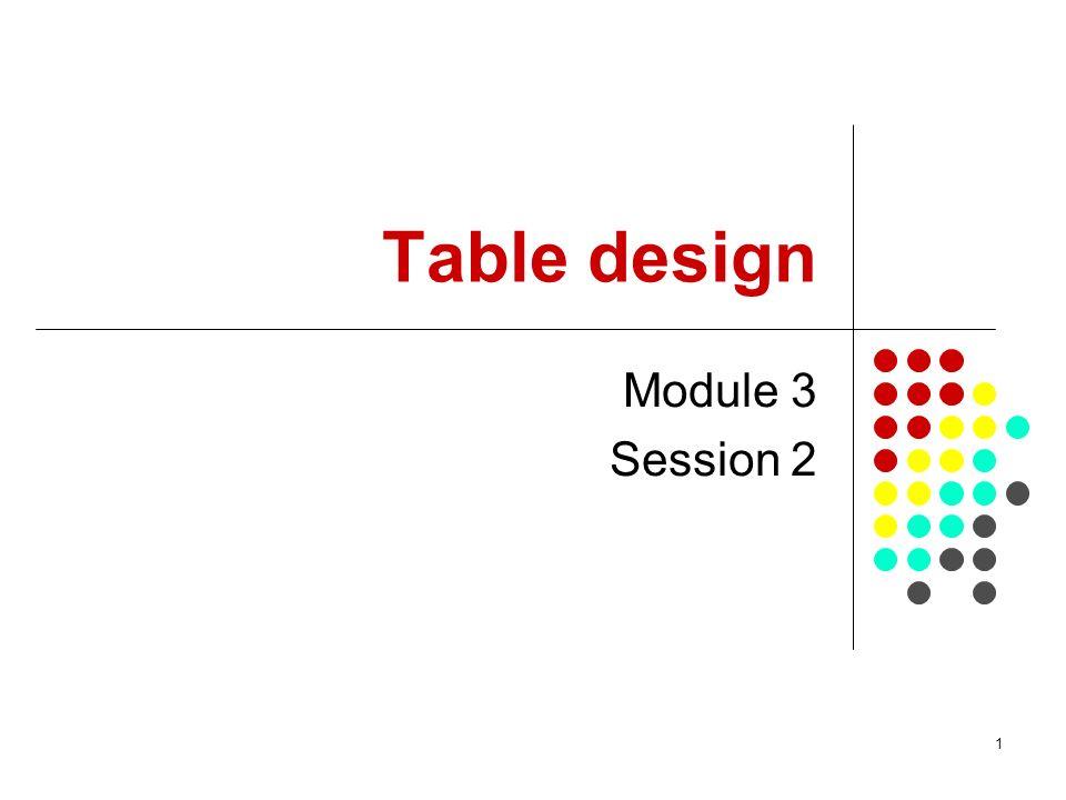 1 Table design Module 3 Session 2