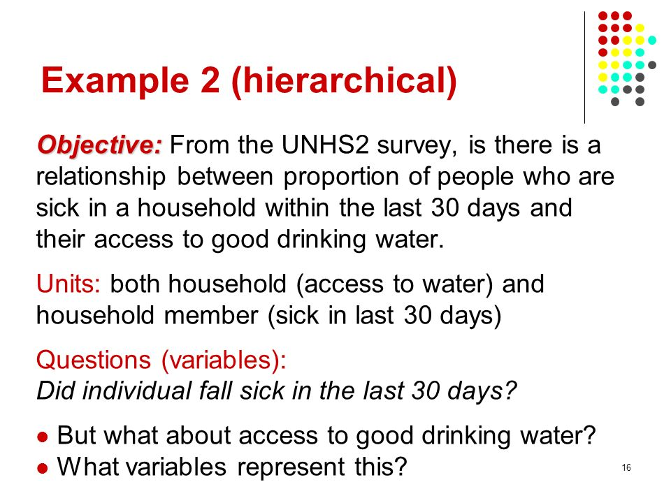 16 Example 2 (hierarchical) Objective: Objective: From the UNHS2 survey, is there is a relationship between proportion of people who are sick in a hou