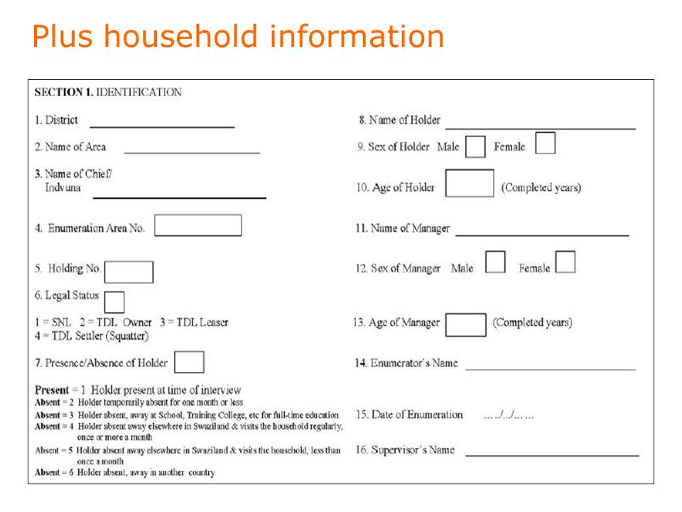 Plus household information