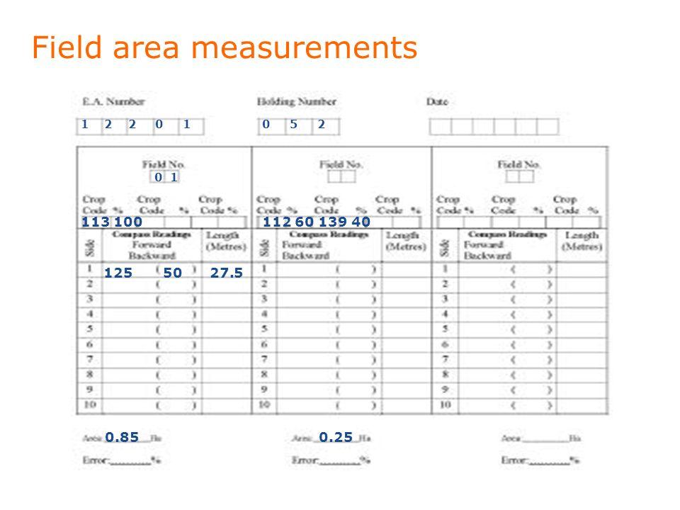 Field area measurements 1 2 2 0 10 5 2 0 1 125 50 27.5 0.85 113 100 0.25 112 60 139 40