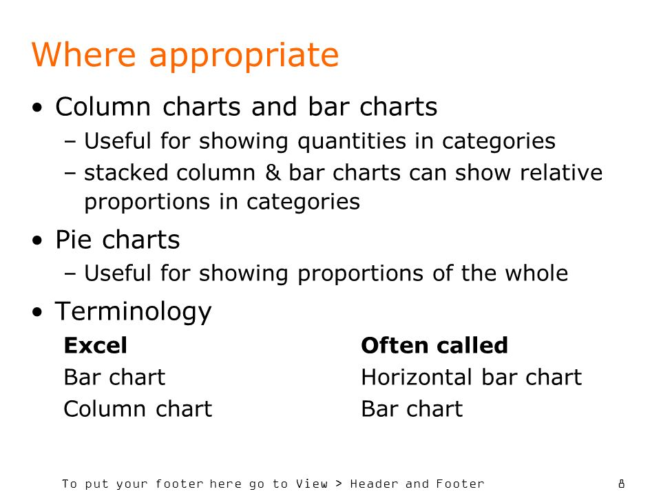 To put your footer here go to View > Header and Footer 8 Where appropriate Column charts and bar charts –Useful for showing quantities in categories –stacked column & bar charts can show relative proportions in categories Pie charts –Useful for showing proportions of the whole Terminology ExcelOften called Bar chart Horizontal bar chart Column chartBar chart