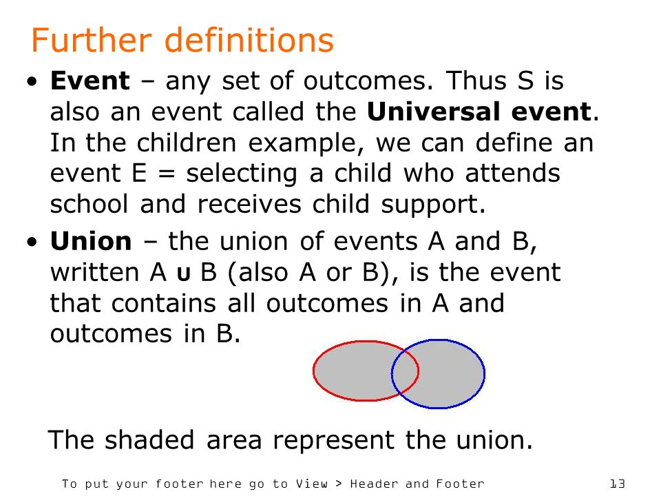 To put your footer here go to View > Header and Footer 13 Event – any set of outcomes. Thus S is also an event called the Universal event. In the chil
