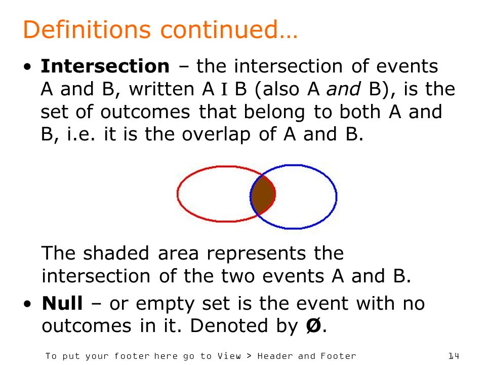 To put your footer here go to View > Header and Footer 14 Intersection – the intersection of events A and B, written A B (also A and B), is the set of