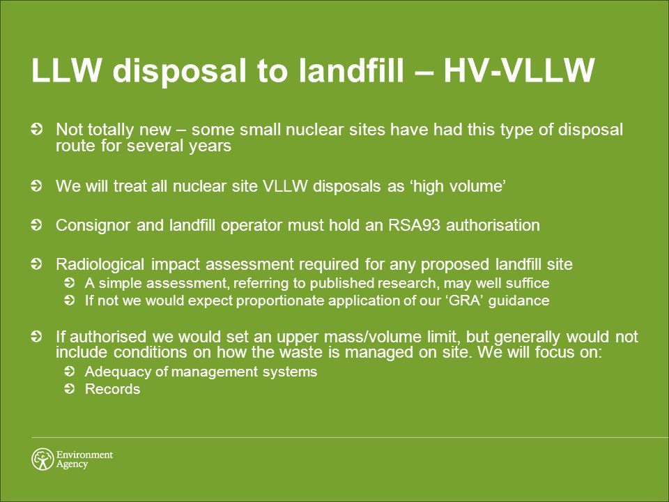 LLW disposal to landfill – HV-VLLW Not totally new – some small nuclear sites have had this type of disposal route for several years We will treat all