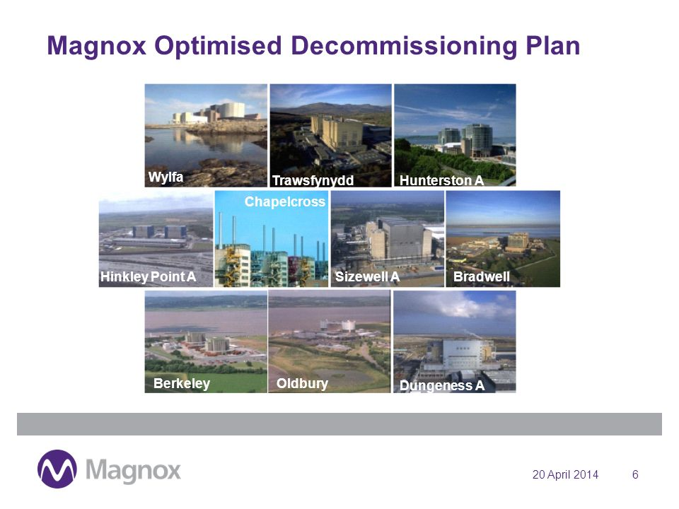 20 April 20146 Magnox Optimised Decommissioning Plan Wylfa TrawsfynyddHunterston A Hinkley Point A Chapelcross Sizewell ABradwell BerkeleyOldbury Dungeness A