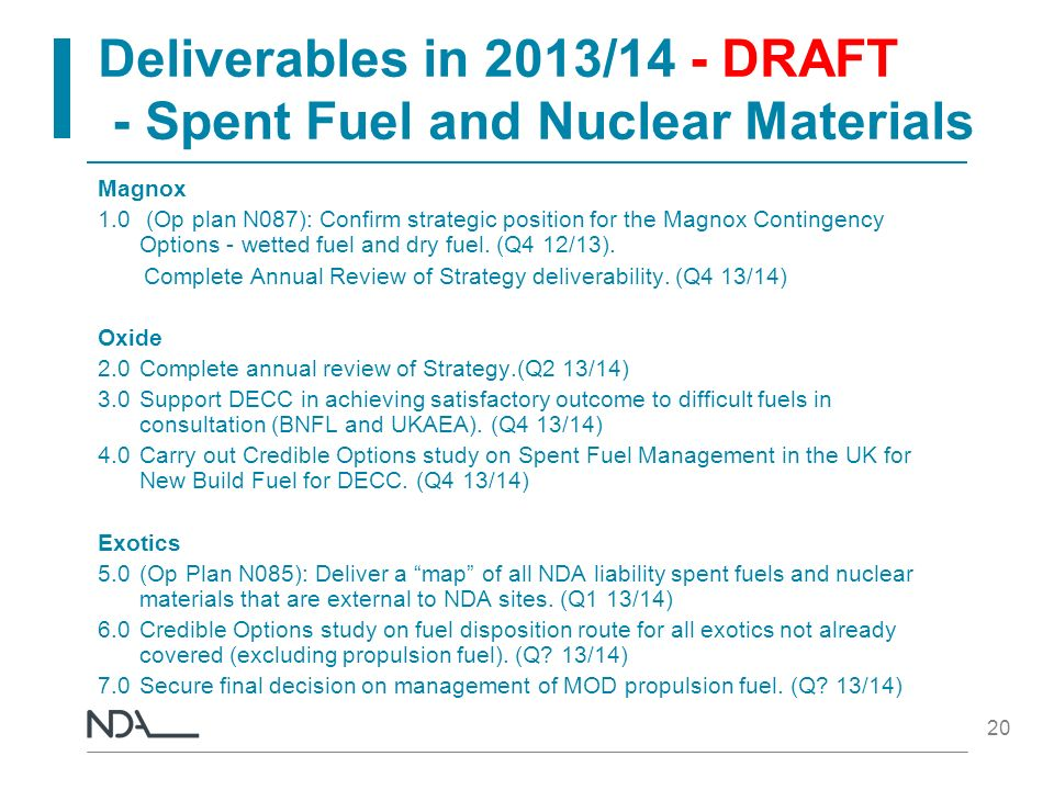 Deliverables in 2013/14 - DRAFT - Spent Fuel and Nuclear Materials Magnox 1.0 (Op plan N087): Confirm strategic position for the Magnox Contingency Op