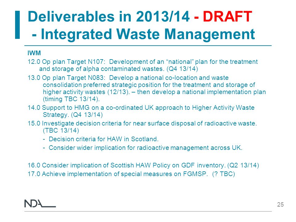 Deliverables in 2013/14 - DRAFT - Integrated Waste Management IWM 12.0 Op plan Target N107: Development of an national plan for the treatment and stor