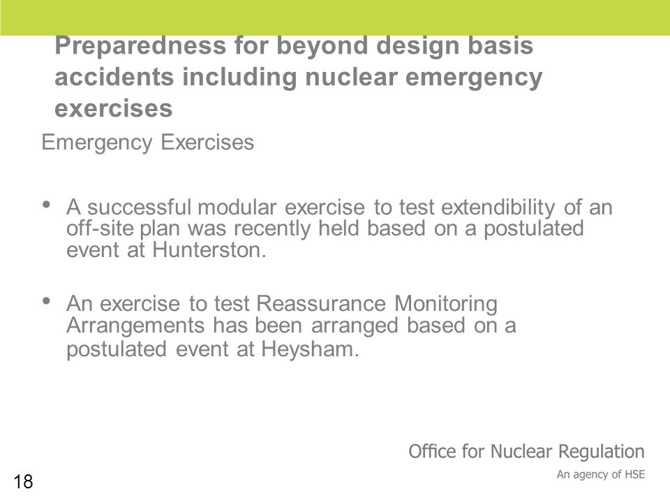 18 Preparedness for beyond design basis accidents including nuclear emergency exercises Emergency Exercises A successful modular exercise to test exte