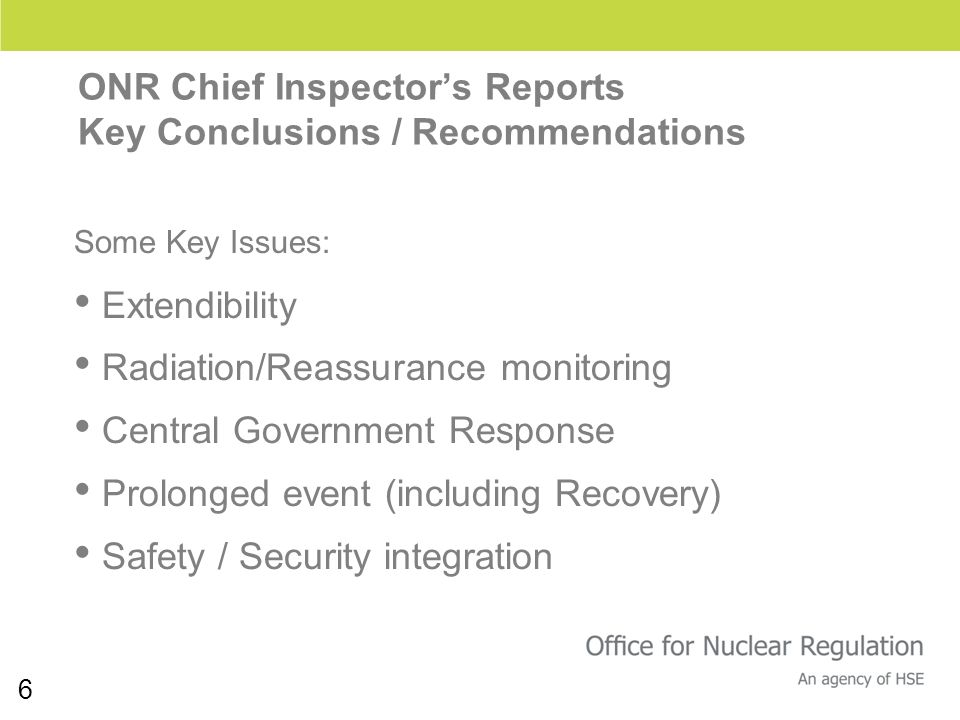 6 Some Key Issues: Extendibility Radiation/Reassurance monitoring Central Government Response Prolonged event (including Recovery) Safety / Security i
