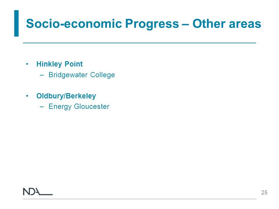 25 Socio-economic Progress – Other areas Hinkley Point –Bridgewater College Oldbury/Berkeley –Energy Gloucester