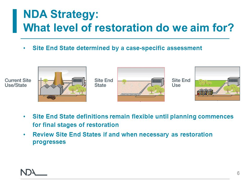 6 NDA Strategy: What level of restoration do we aim for? Site End State determined by a case-specific assessment Site End State definitions remain fle