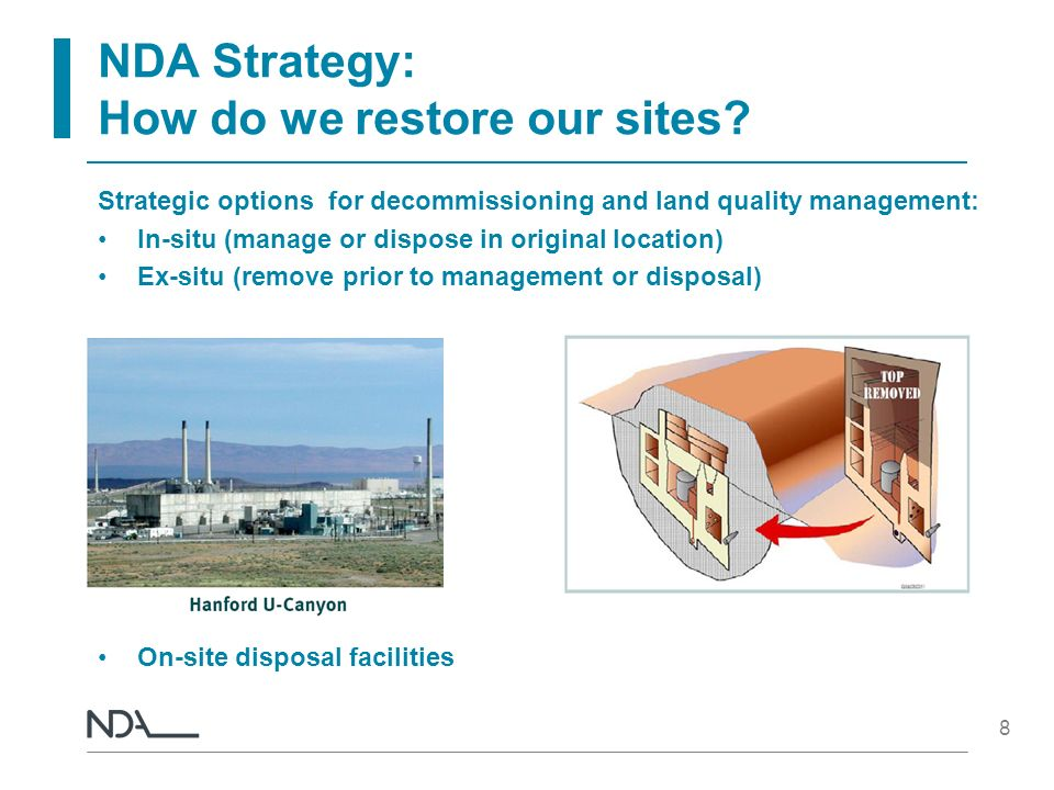 8 NDA Strategy: How do we restore our sites? Strategic options for decommissioning and land quality management: In-situ (manage or dispose in original