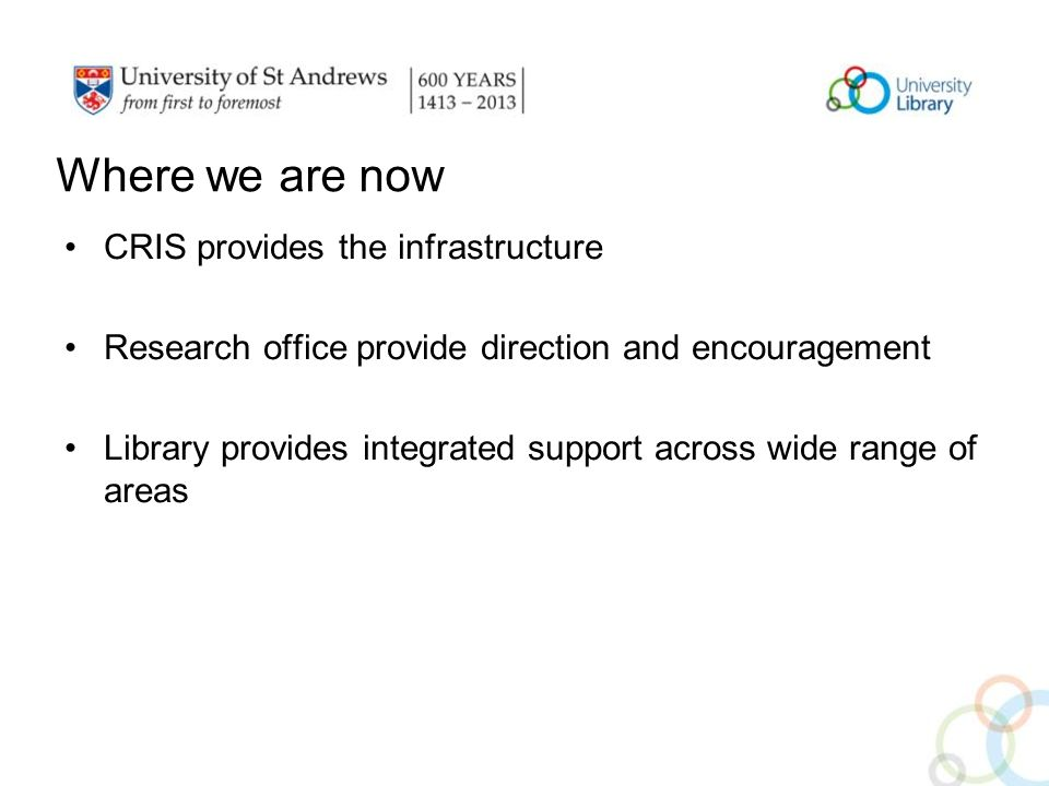 Where we are now CRIS provides the infrastructure Research office provide direction and encouragement Library provides integrated support across wide range of areas