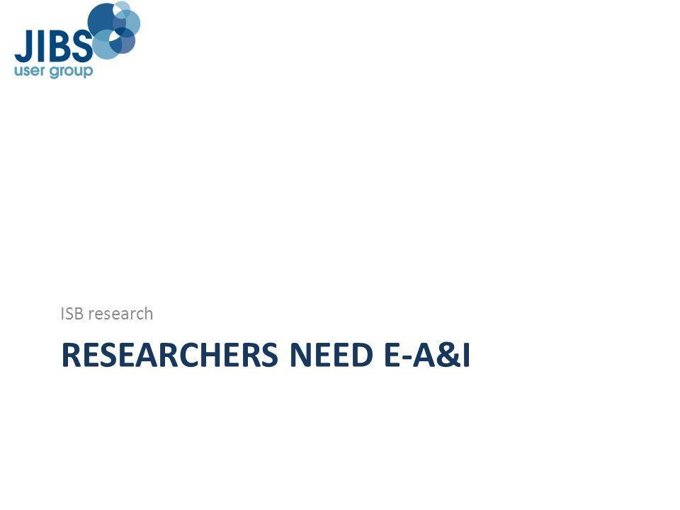 RESEARCHERS NEED E-A&I ISB research