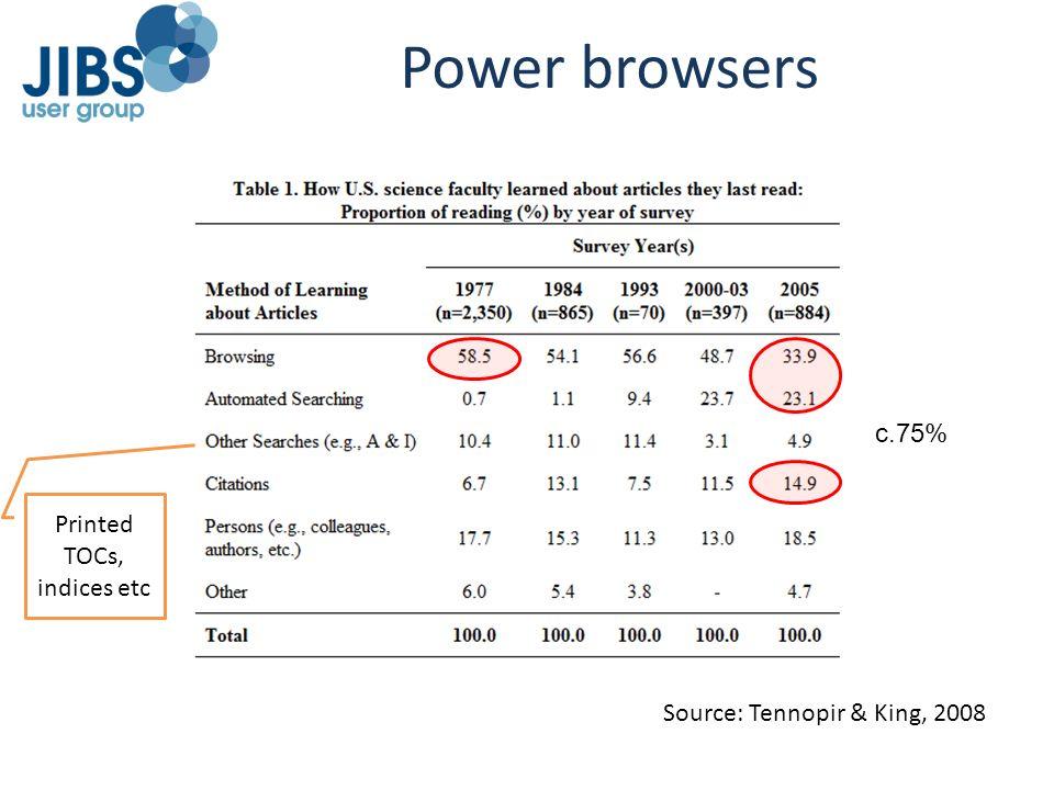 Power browsers Source: Tennopir & King, 2008 Printed TOCs, indices etc c.75%