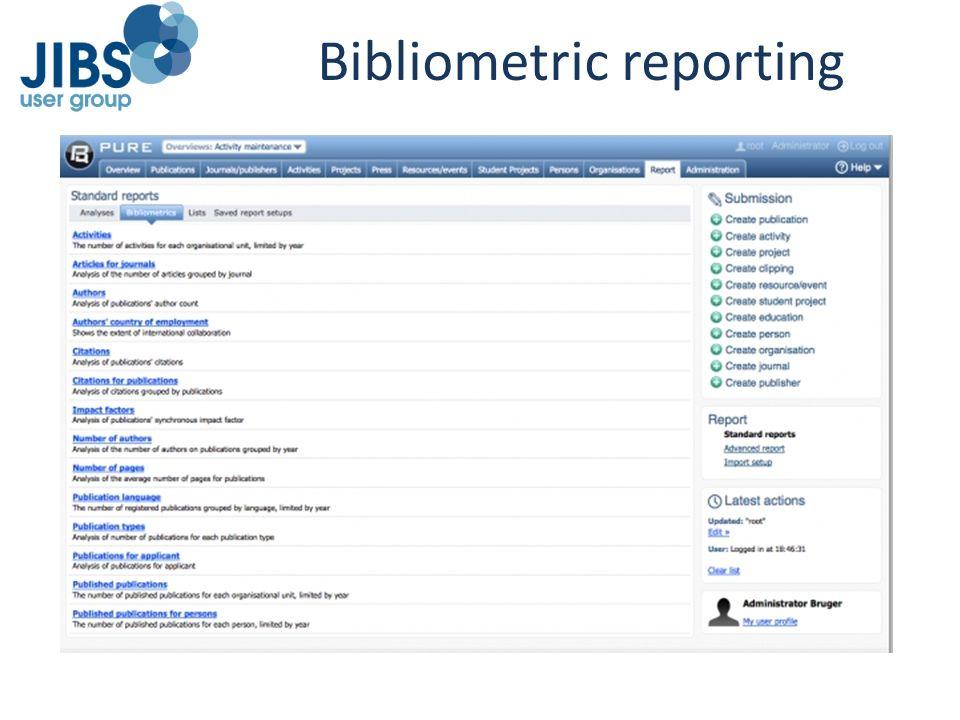 Bibliometric reporting