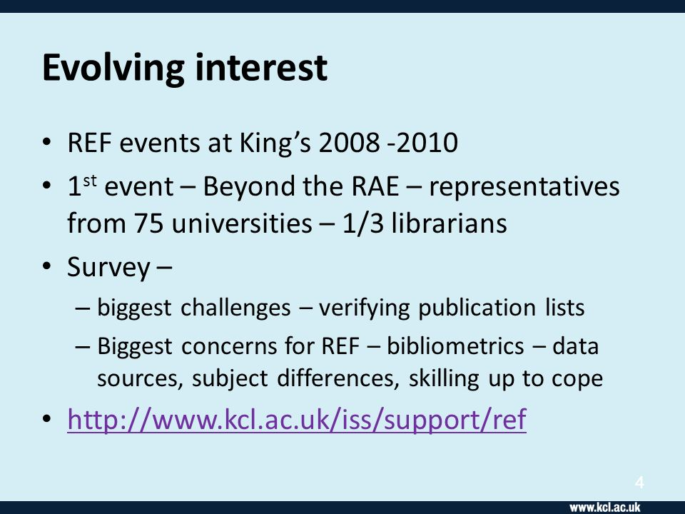 Events Nov 08 and June 09 Focus on bibliometrics – pilots Pre-event survey before Nov event: – Only about half of institutions had a centralized publications data collection system – One or two mentioned Symplectic – One mentioned something called Pure 5