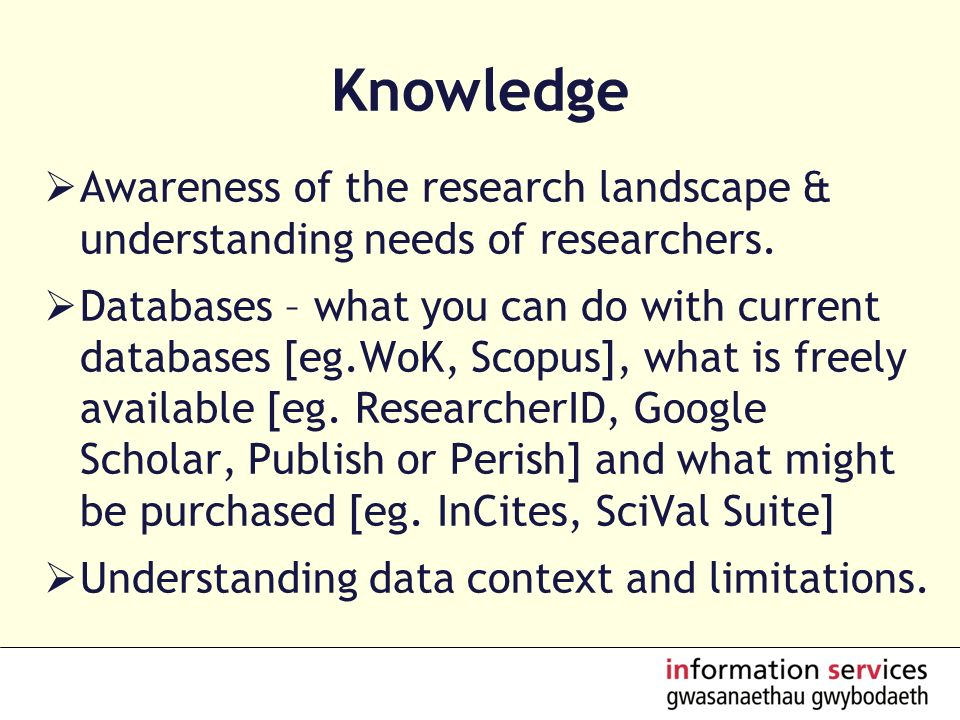 Knowledge Awareness of the research landscape & understanding needs of researchers.
