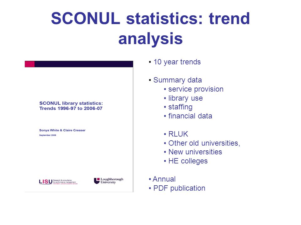 SCONUL statistics: trend analysis 10 year trends Summary data service provision library use staffing financial data RLUK Other old universities, New u