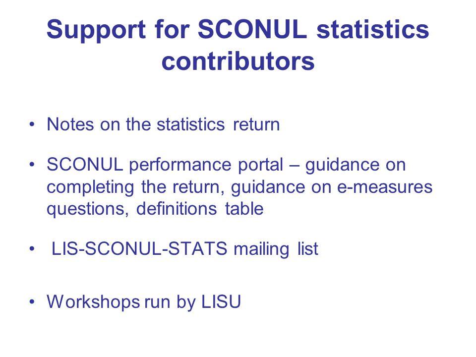 Support for SCONUL statistics contributors Notes on the statistics return SCONUL performance portal – guidance on completing the return, guidance on e