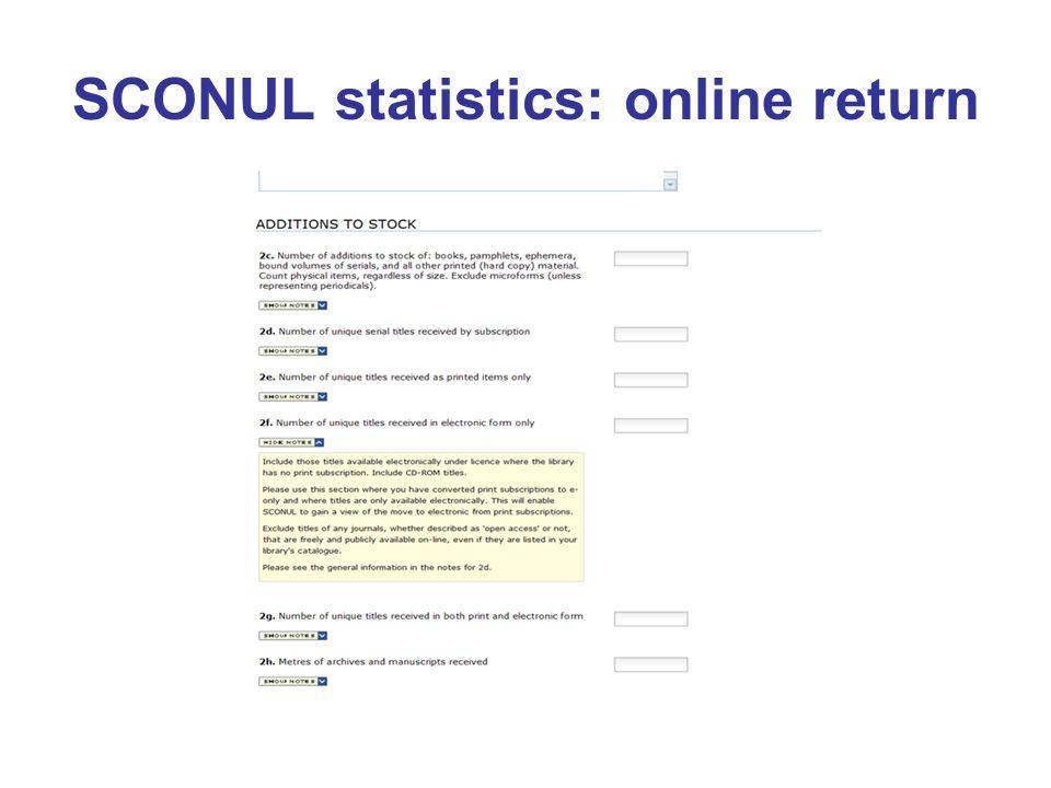 SCONUL statistics: online return