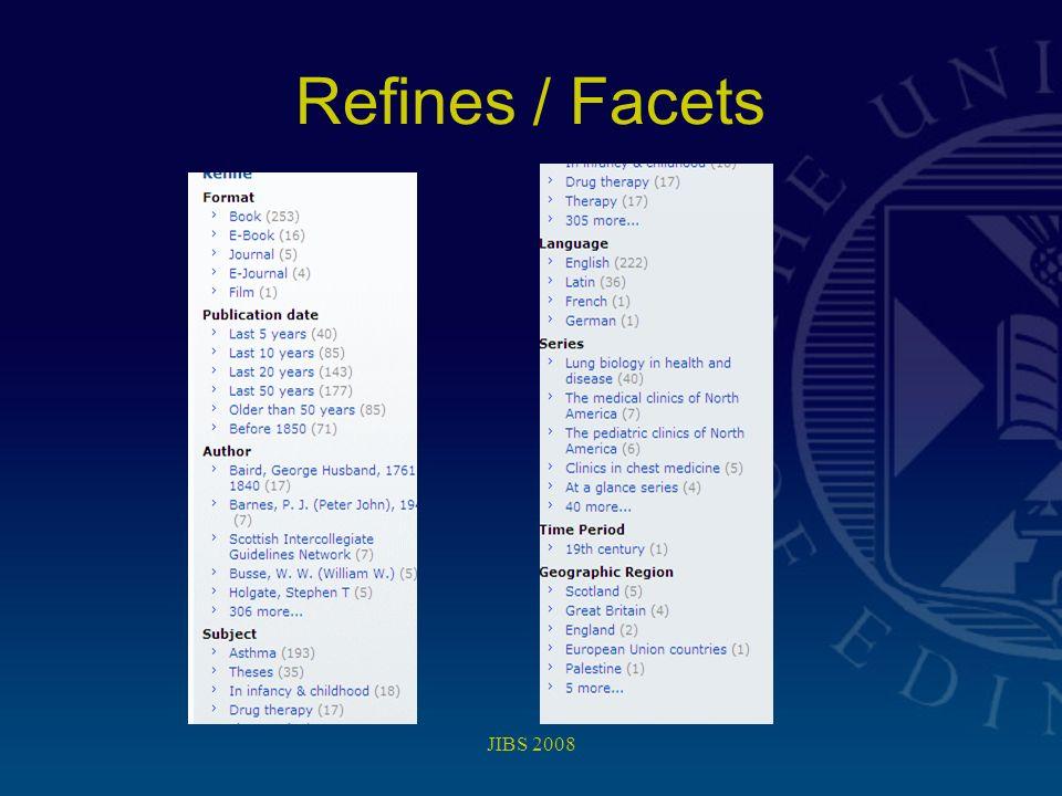 JIBS 2008 Refines / Facets