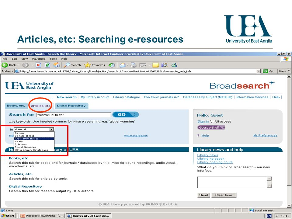 Articles, etc: Searching e-resources
