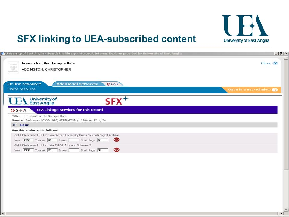 SFX linking to UEA-subscribed content