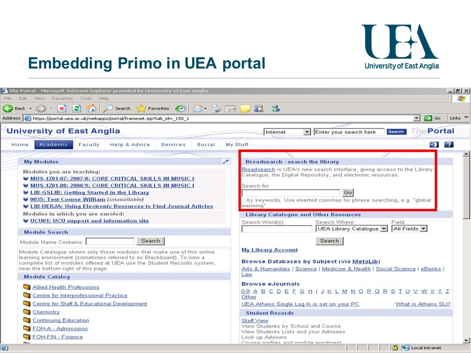 Embedding Primo in UEA portal