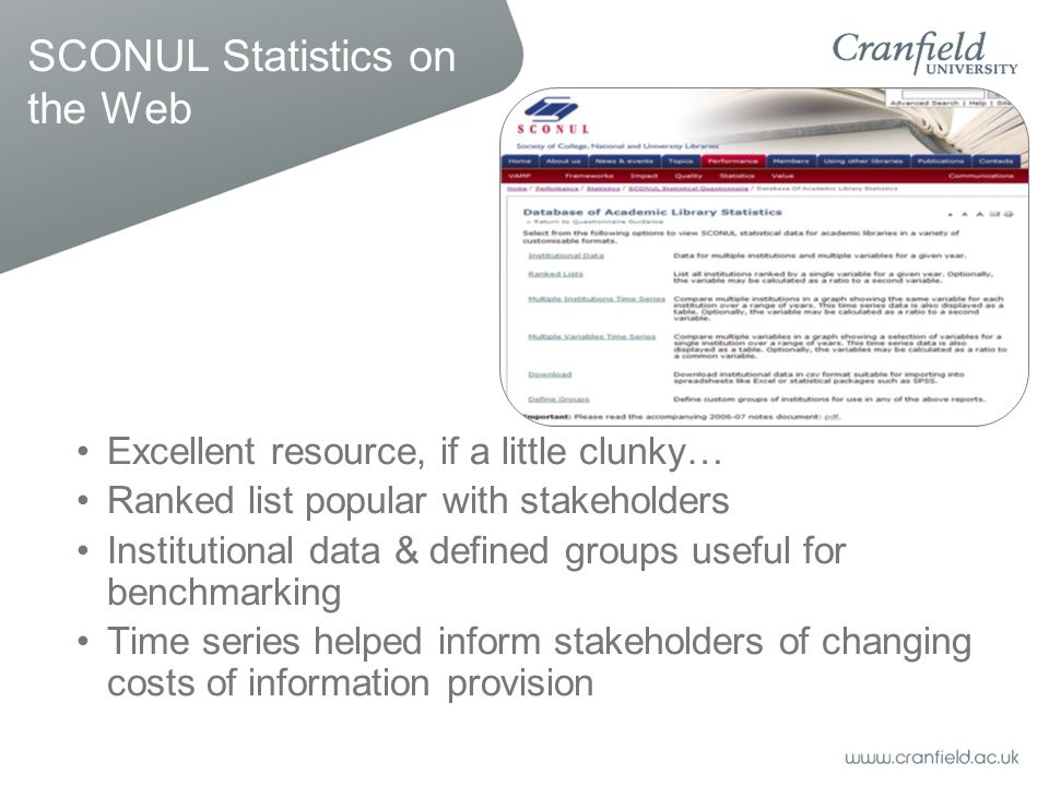 SCONUL Statistics on the Web Excellent resource, if a little clunky… Ranked list popular with stakeholders Institutional data & defined groups useful