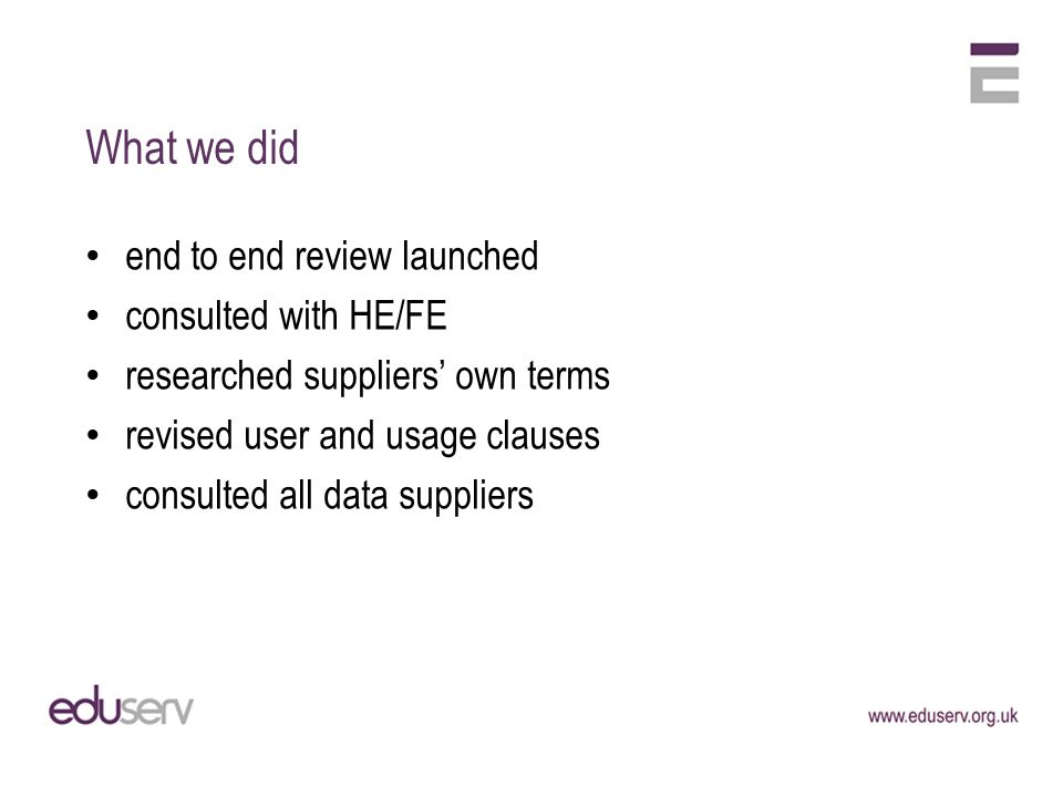 What we did end to end review launched consulted with HE/FE researched suppliers own terms revised user and usage clauses consulted all data suppliers